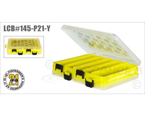 Коробка для приманок Pontoon21 LCB двусторонняя 206x170x42, желтая./верх прозр.