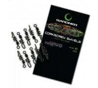 GARDNER  Вертлюг №8 со спиральной застежкой COVERT CORKSCREW SWIVEL (10шт) CCSWV8