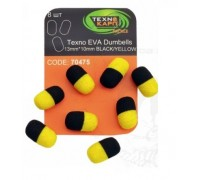 Texno EVA Dumbells 13mm*10mm black/yellow уп/8шт