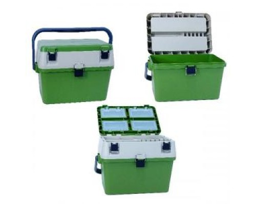 Ящик зимний пластиковый, рыболовный, с пластиковой ручкой + ремень, HS-318-1 (15)