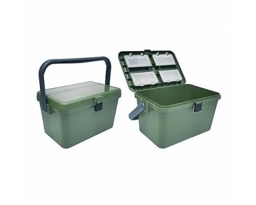 Ящик зимний пластиковый, рыболовный, малый с ручкой HS-318, t до -40, до 120кг. (15)